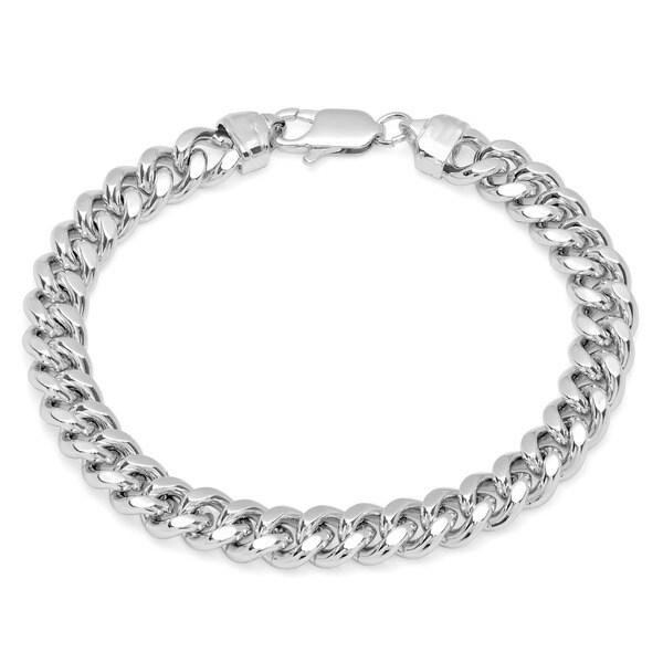 Sterling Essentials Rhodium Plated Silver 8.5-inch Men's Cuban Link Bracelet (9.25mm)