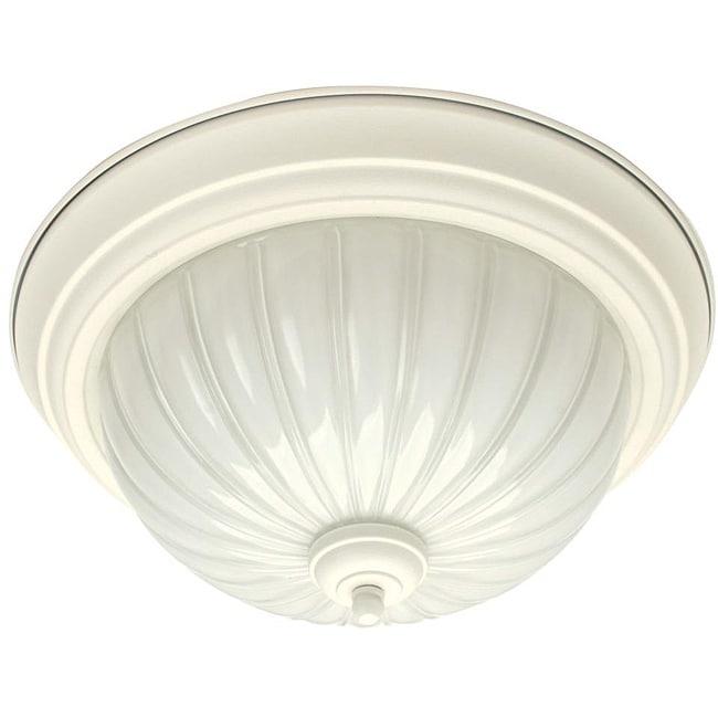 Transitional 2-light Textured White Flush Light