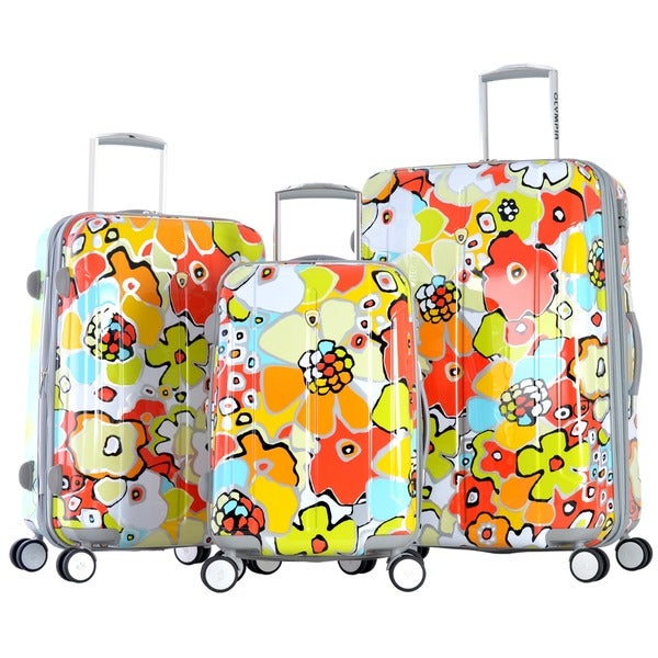 Olympia Blossom 3-piece Expandable Fashion Hardside Spinner Luggage Set