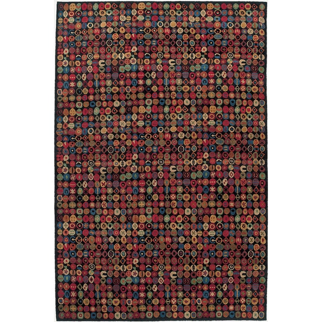 Nepalese Hand-knotted Black Bottle Cap Wool Rug (6' x 9')
