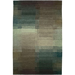Nepalese Hand-knotted Plum Reflections Wool Rug (2'6 x 10')