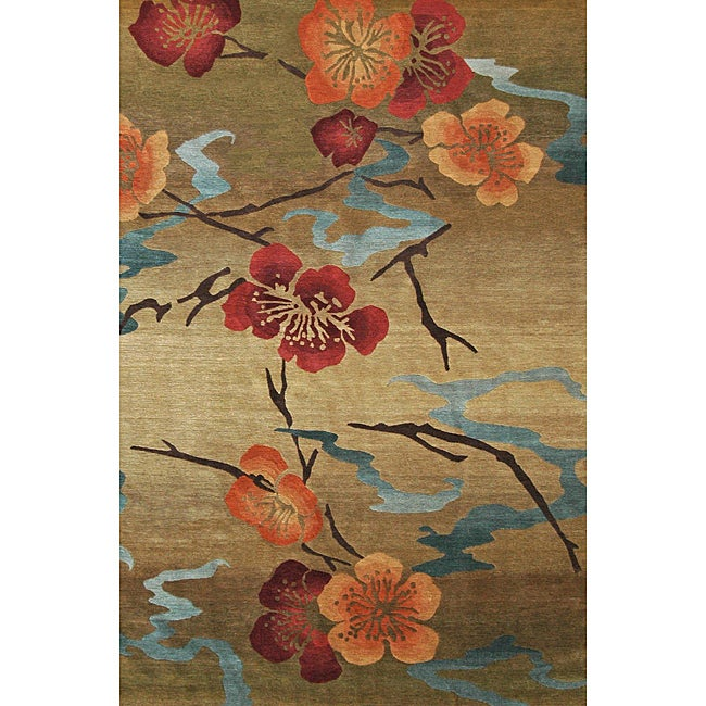 Nepalese Hand-knotted Kimono Gold Wool Rug (4' x 6')