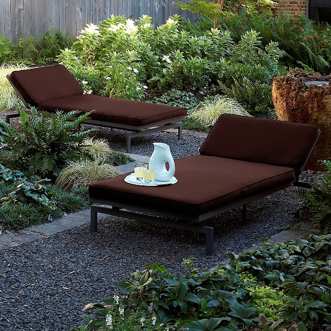 Alyssa Bay Brown Adjustable Outdoor Chaise with Sunbrella Fabric
