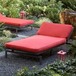Alyssa Textured Crimson Adjustable Outdoor Chaise With Sunbrella Fabric  Cushion
