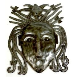 Handmade Recycled Steel Drum 10-inch Dreadlock Face Wall Art (Haiti)