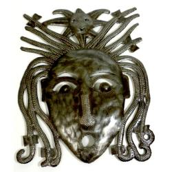 Handmade Recycled Steel Drum 10-inch Dreadlock Face Wall Art (Haiti) - Thumbnail 0