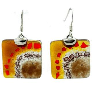 Handmade Sterling Silver Fused Glass 'Golden Earth' Earrings (Chile)