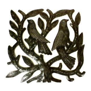 Recycled Steel Drum 8-inch Tree of Life and Two Birds Wall Art  , Handmade in Haiti
