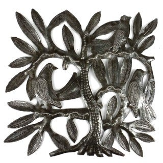 Recycled Steel Drum Tree of Life and Three East Birds Wall Art  , Handmade in Haiti