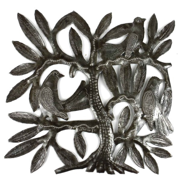 Recycled Steel Drum Tree of Life and Three East Birds Wall Art  , Handmade in Haiti