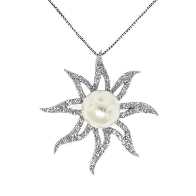 Sterling Silver Faux Pearl and Clear Cubic Zirconia Sun Necklace