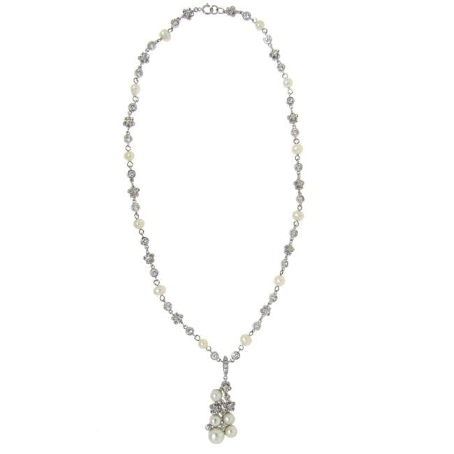 Sterling Silver Clear Cubic Zirconia and Pearl Flower Necklace