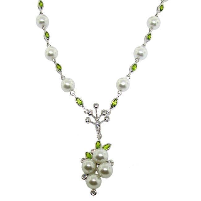 Sterling Silver Cubic Zirconia and Faux Pearl Necklace