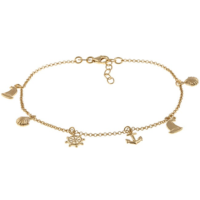 14K Gold over Sterling Silver Nautical Anklet - Thumbnail 0