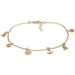 Sterling Essentials 14K Gold over Silver Nautical Anklet