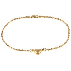 Sterling Essentials 14K Gold over Silver Heart Rope Anklet