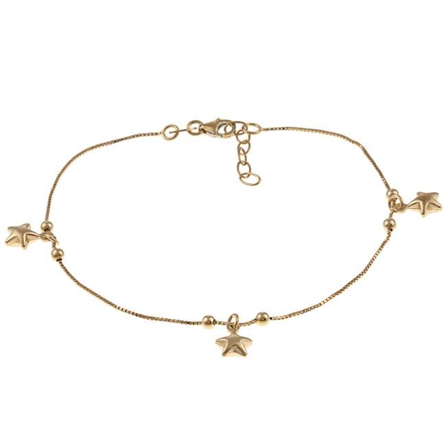 Sterling Essentials 14K Gold over Silver Stars Anklet