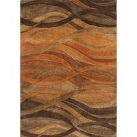 Alliyah Handmade Caramel, Autumn Leaf, Chipmunk, Brown, and Rust New Zealand Blend Wool Rug - 4' x 6'