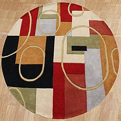 Alliyah Handmade Multi-Color New Zealand Blend Wool Rug (6' Round)