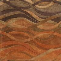 Alliyah Handmade Rust New Zealand Blend Wool Rug - 6' x 6'