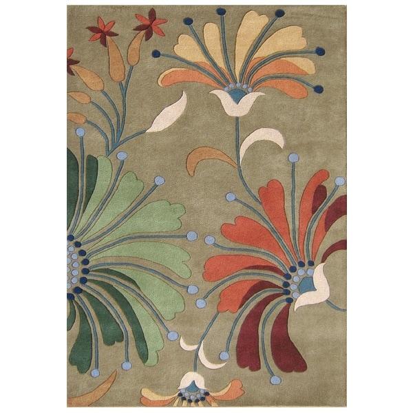 Alliyah Handmade Khaki Green New Zealand Blend Wool Rug (4' x 6')