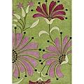 Alliyah Handmade Green, Wild Rose, Burgundy, and Light Grass Green New Zealand Blend Wool Rug (5' x 8')