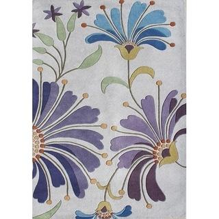Alliyah Handmade Light Purple New Zealand Blend Wool Rug (5' x 8')