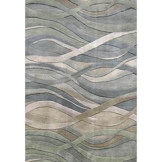 Alliyah Handmade Silver Grey/ Green New Zeland Blend Wool Area Rug (4' x 6')