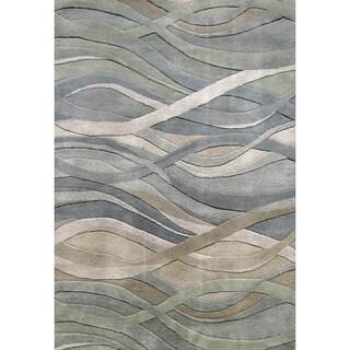 Alliyah Handmade Silver Grey/ Green New Zeland Blend Wool Area Rug - 4' x 6'