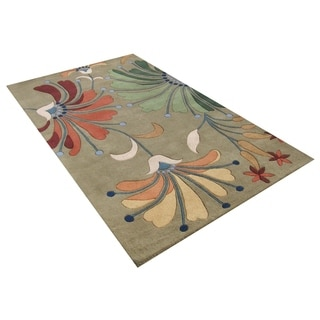 Alliyah Handmade Khaki Green New Zealand Blend Wool Rug (9' x 12')