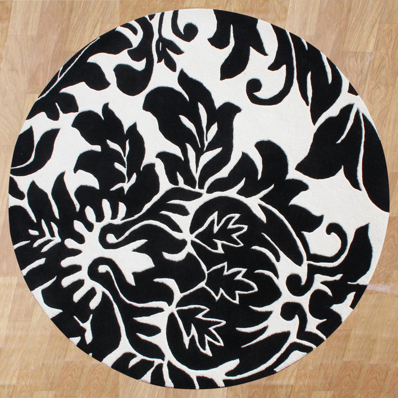Alliyah Handmade Off-White New Zealand Blend Wool Rug (6' Round)