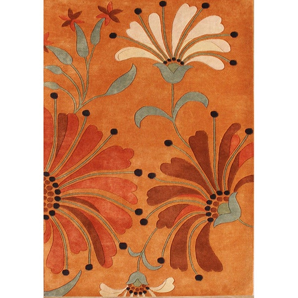Alliyah Handmade Rust, Orange Rust, Burgundy, and Green Spruce New Zealand Blend Wool Rug - 8' x 10'