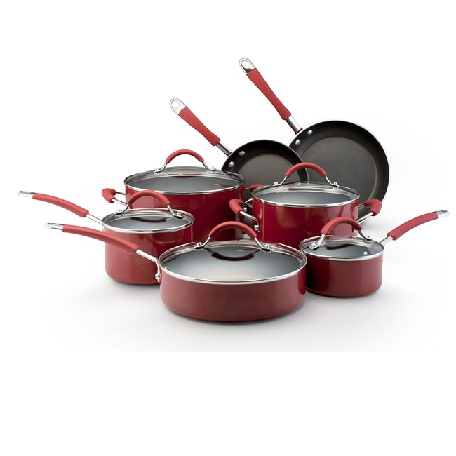 KitchenAid Porcelain Red 12-piece Nonstick Cookware Set - Thumbnail 0