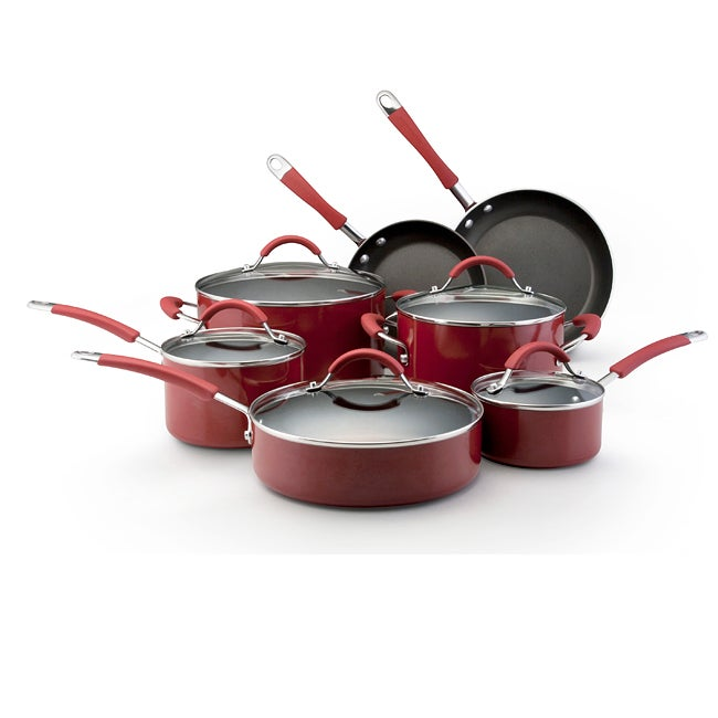 Kitchenaid porcelain red 12 piece nonstick cookware set for Kitchen set red
