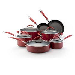 Thumbnail 1, KitchenAid Porcelain Red 12-piece Nonstick Cookware Set.