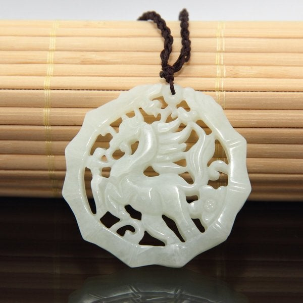 Jade Dragon and Tiger Cotton Necklace (China)