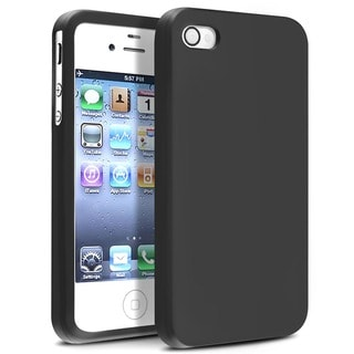 INSTEN Black Soft Silicone Phone Case Cover for Apple iPhone 4