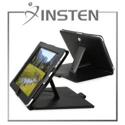INSTEN Black Leather Tablet Case Cover with Stand for Apple iPad