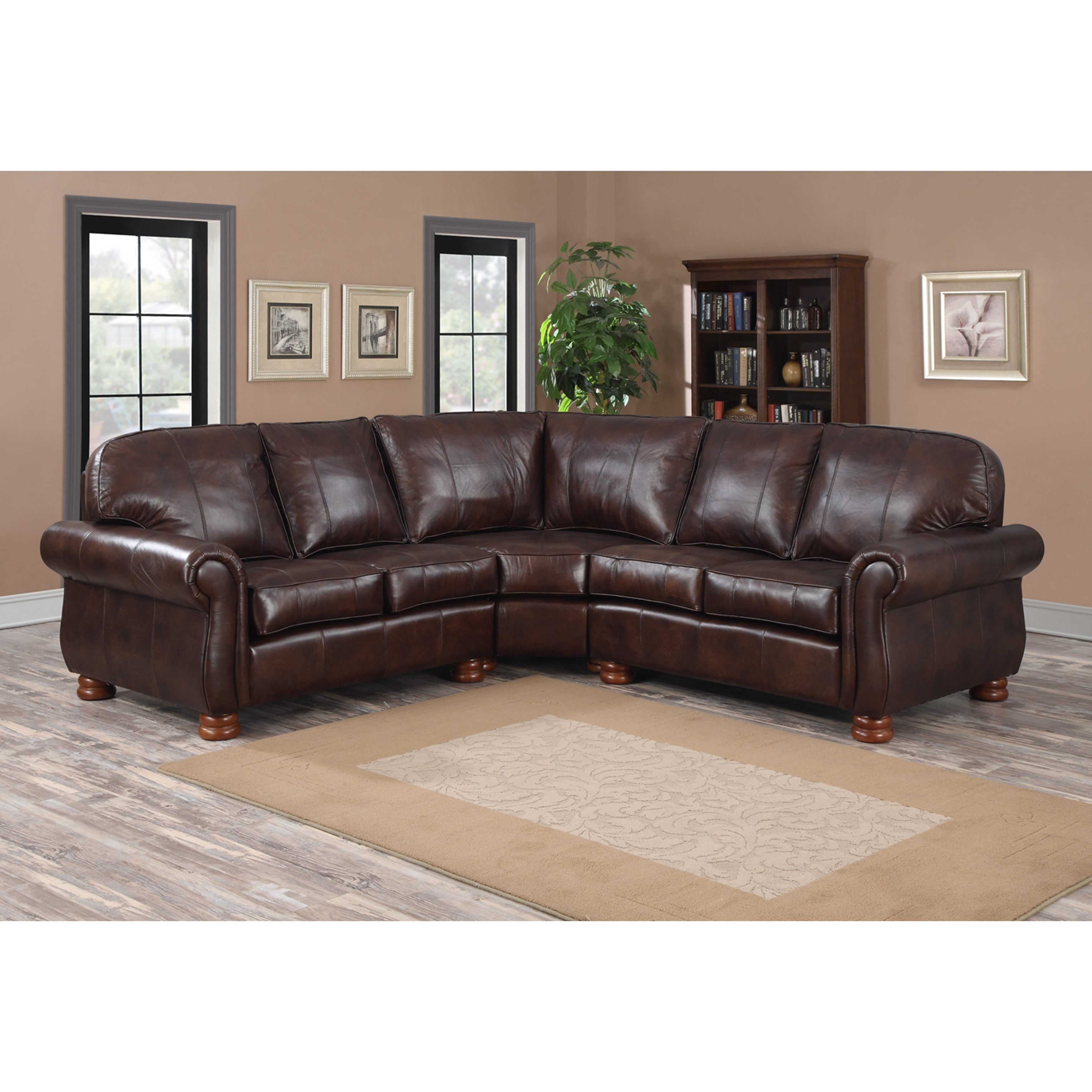 Melrose Dark Brown Italian Leather Three-piece Sectional Sofa