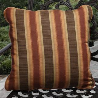 Clara 22-inch Indoor/ Outdoor Autumn Striped Pillows Made with Sunbrella (Set of 2)