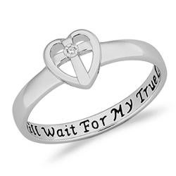 Limoges Sterling-Silver High-Polish Diamond Accent Purity Sentiment Ring