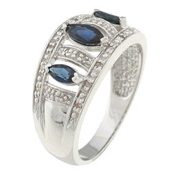 Sofia 10k White Gold Sapphire and 1/10ct TDW Diamond Ring (J-K, I2-I3) - Thumbnail 1