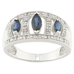 Sofia 10k White Gold Sapphire and 1/10ct TDW Diamond Ring (J-K, I2-I3)