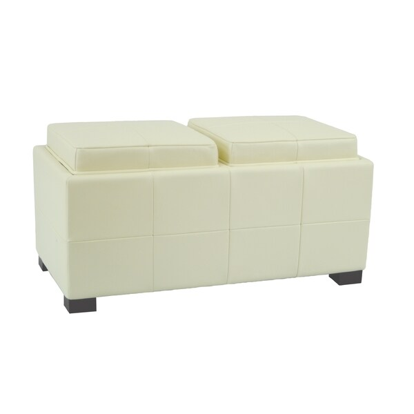shop safavieh mercer double tray off white leather storage ottoman free shipping today. Black Bedroom Furniture Sets. Home Design Ideas