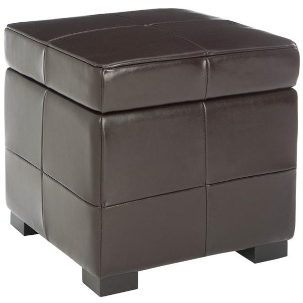 Safavieh Essex Fliptop Brown Leather Storage Ottoman