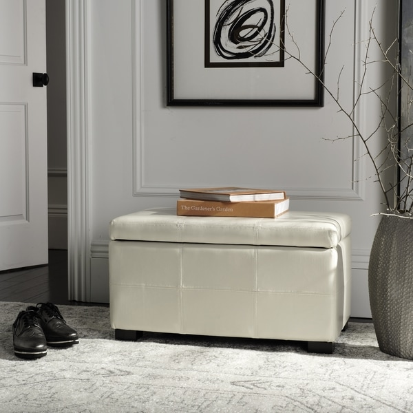 Safavieh Broadway Flat Cream Leather Medium-size Storage Bench
