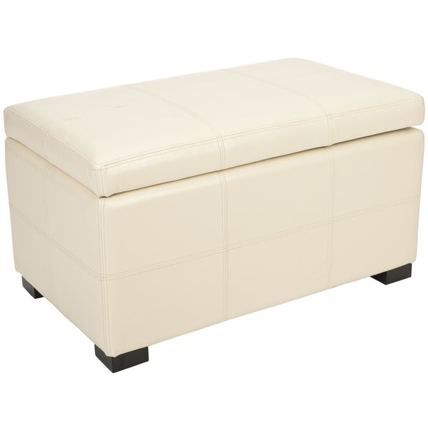 Safavieh Broadway Flat Cream Leather Medium-size Storage Bench
