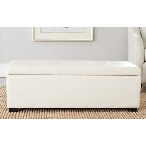 "Safavieh Broadway Flat Cream Leather Large-size Storage Bench - 46.9"" x 18.3"" x 16.7"""