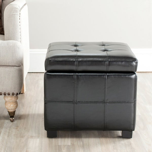 Safavieh Broadway Black Leather Tufted Storage Ottoman