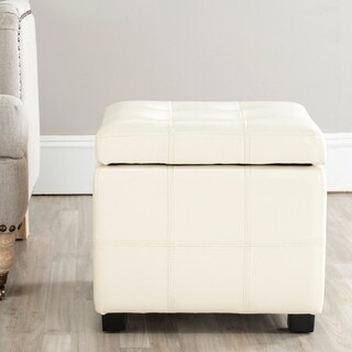 Safavieh Broadway Flat Cream Leather Tufted Storage Ottoman